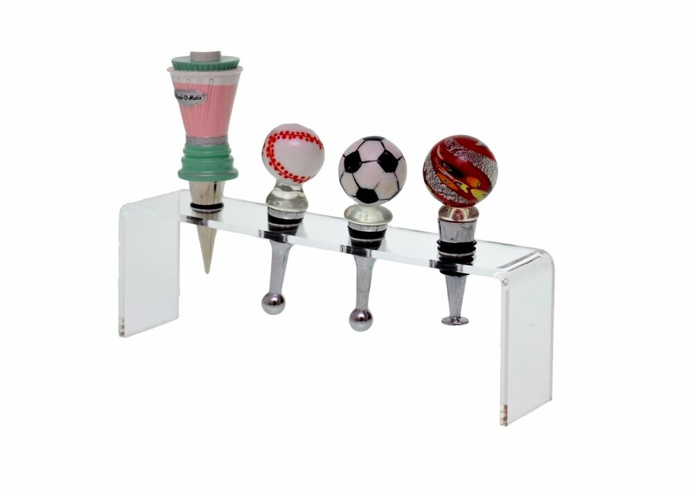 Acrylic 4 Pocket Counter Top Wine Bottle Stopper Display