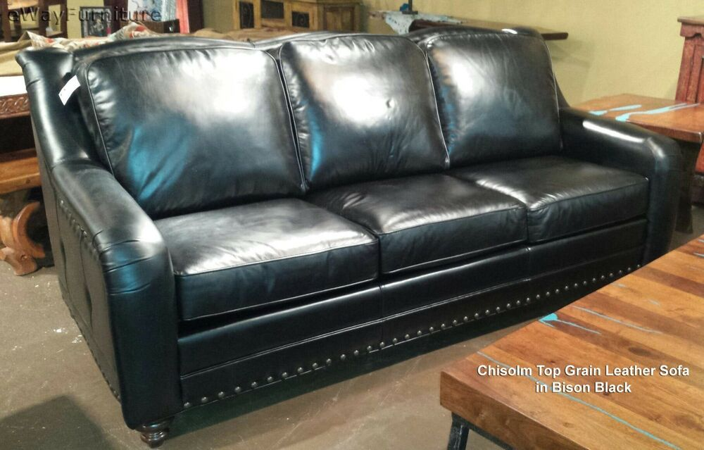 Chisolm Bison Black 100 Hand Cut Top Grain Leather Sofa