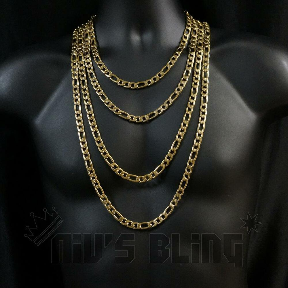 18k Ip Gold Plated Solid Figaro Chain 316l Stainless Steel