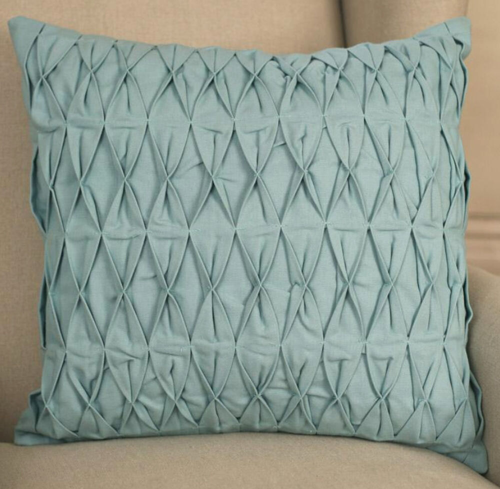 decorator cushion cover 45x45cms ruched duck egg blue. Black Bedroom Furniture Sets. Home Design Ideas