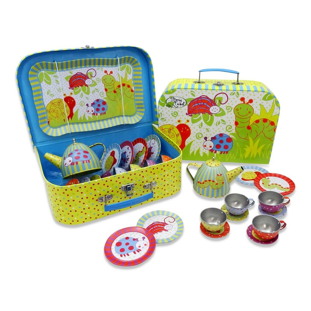 kids boys girls wiggly bug tin metal tea set carry case pretend play toy ebay. Black Bedroom Furniture Sets. Home Design Ideas