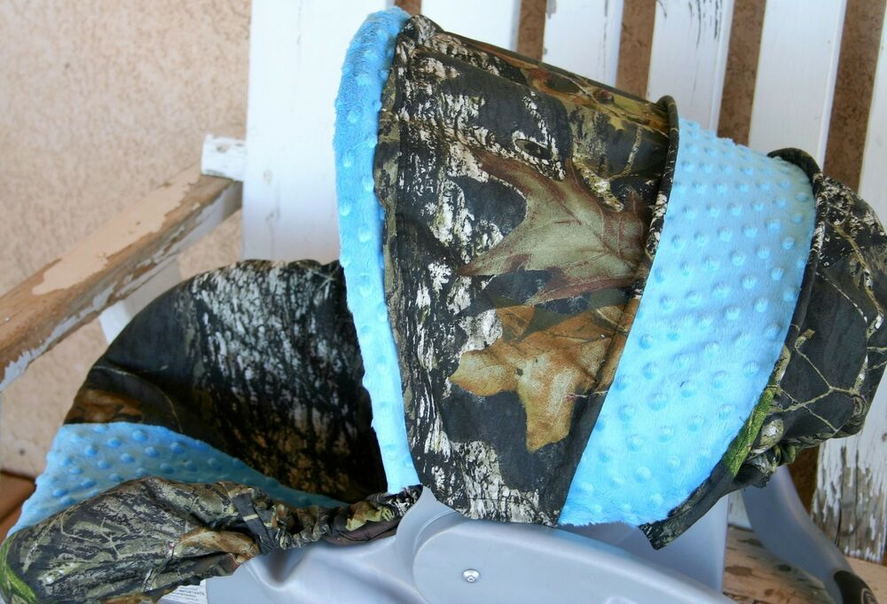 Mossy Oak Camo And Teal Minky Infant Car Seat Cover And