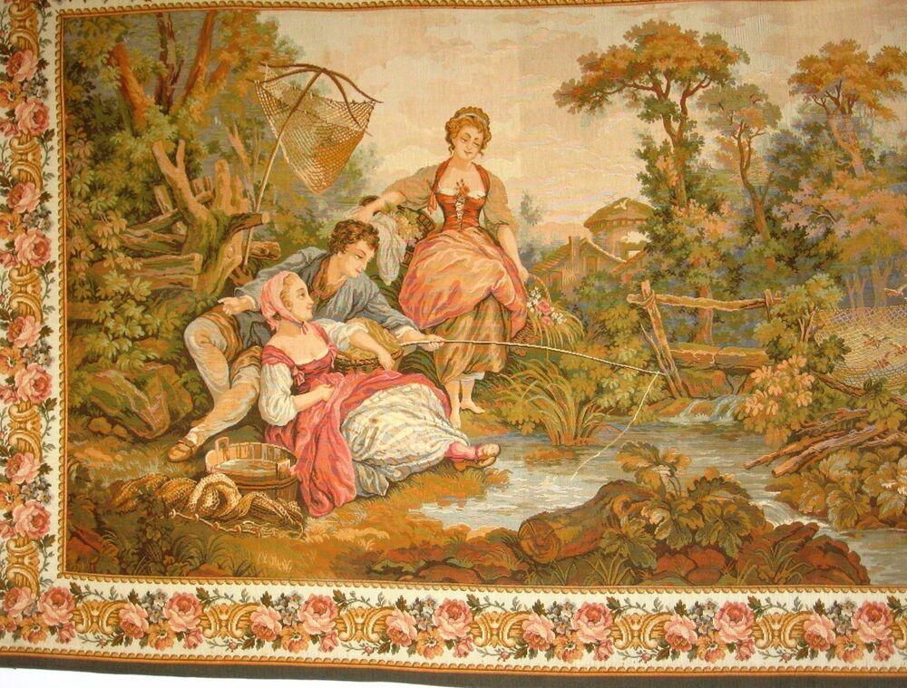 Vintage french tapestry goblin wall hanging ebay for Wall hanging