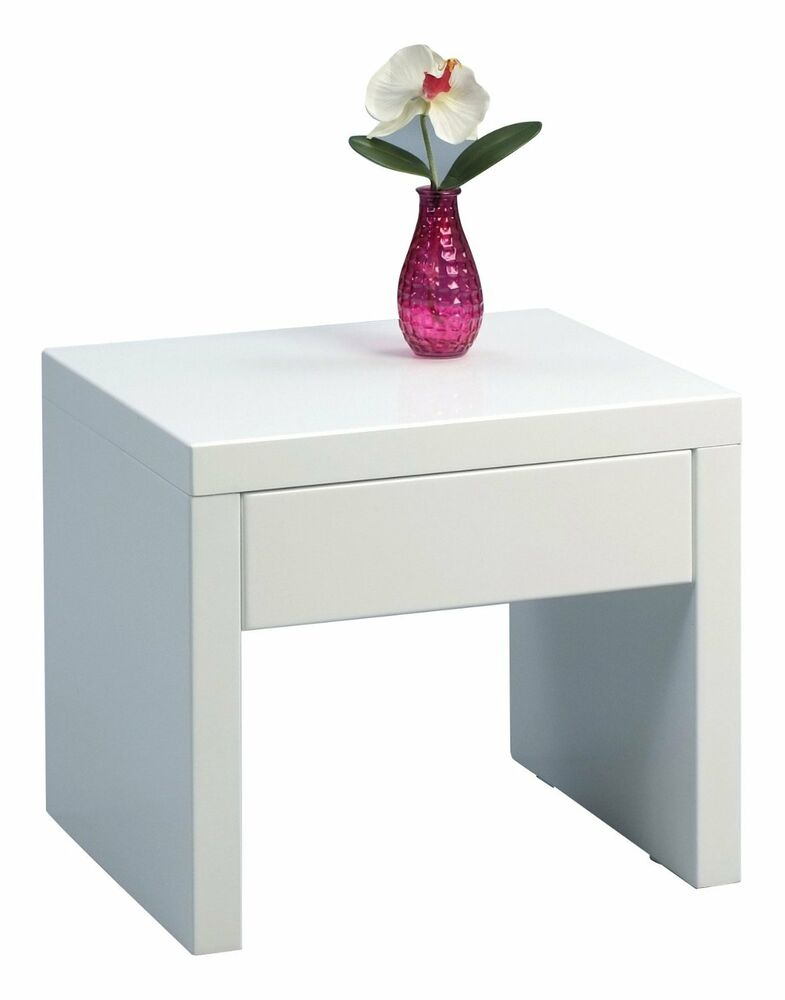 High gloss side end table modern white drawer contemporary living room