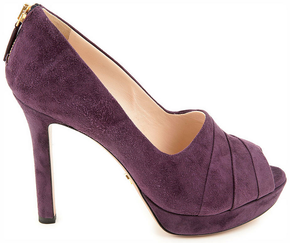 new prada womens solid purple suede peep toe high heel shoes us sz 6 5 1kp293 ebay. Black Bedroom Furniture Sets. Home Design Ideas