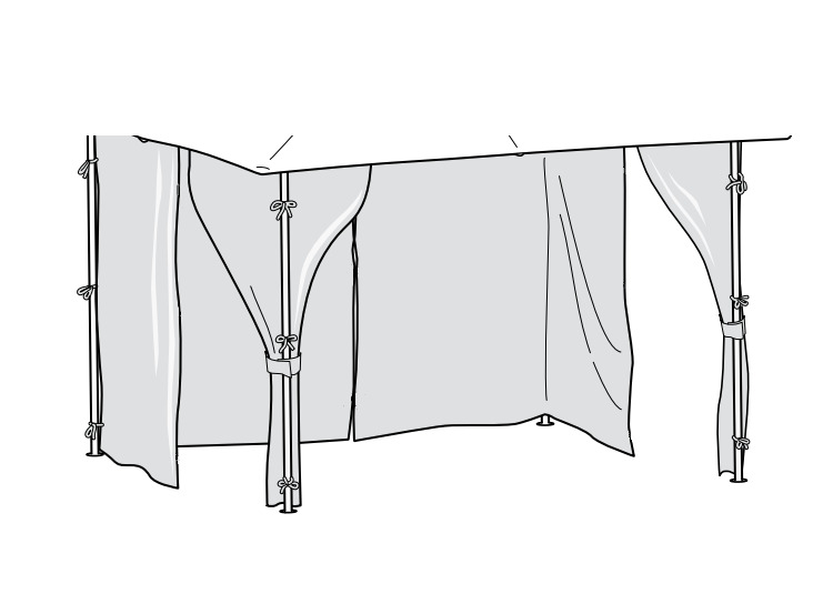 Curtains Only For Homebase Lucca 3m Gazebo Side Panels