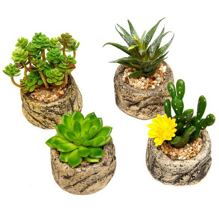 lifelike mini succulent artificial plants pot home dining. Black Bedroom Furniture Sets. Home Design Ideas