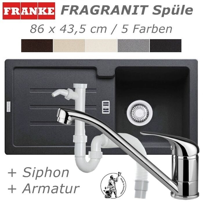 set franke fragranit sp le 86 x 43 5 armatur siphon k che einbau sp le granit ebay. Black Bedroom Furniture Sets. Home Design Ideas