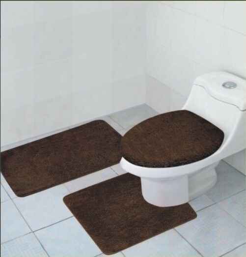 3 pcs bathroom rug contour rug and lid cover set hailey chocolate brown ebay for Chocolate brown bathroom rugs