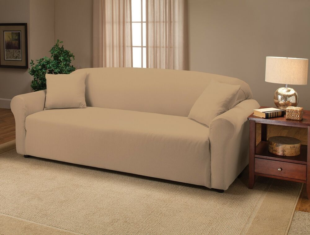 CREAM JERSEY COUCH STRETCH SLIPCOVER, FURNITURE COVERS