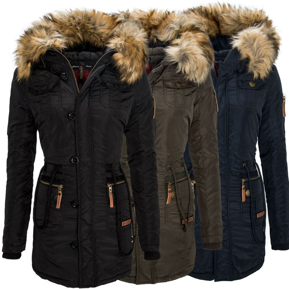navahoo damen winter mantel warme bergangs jacke wasserabweisender parka b305 ebay. Black Bedroom Furniture Sets. Home Design Ideas