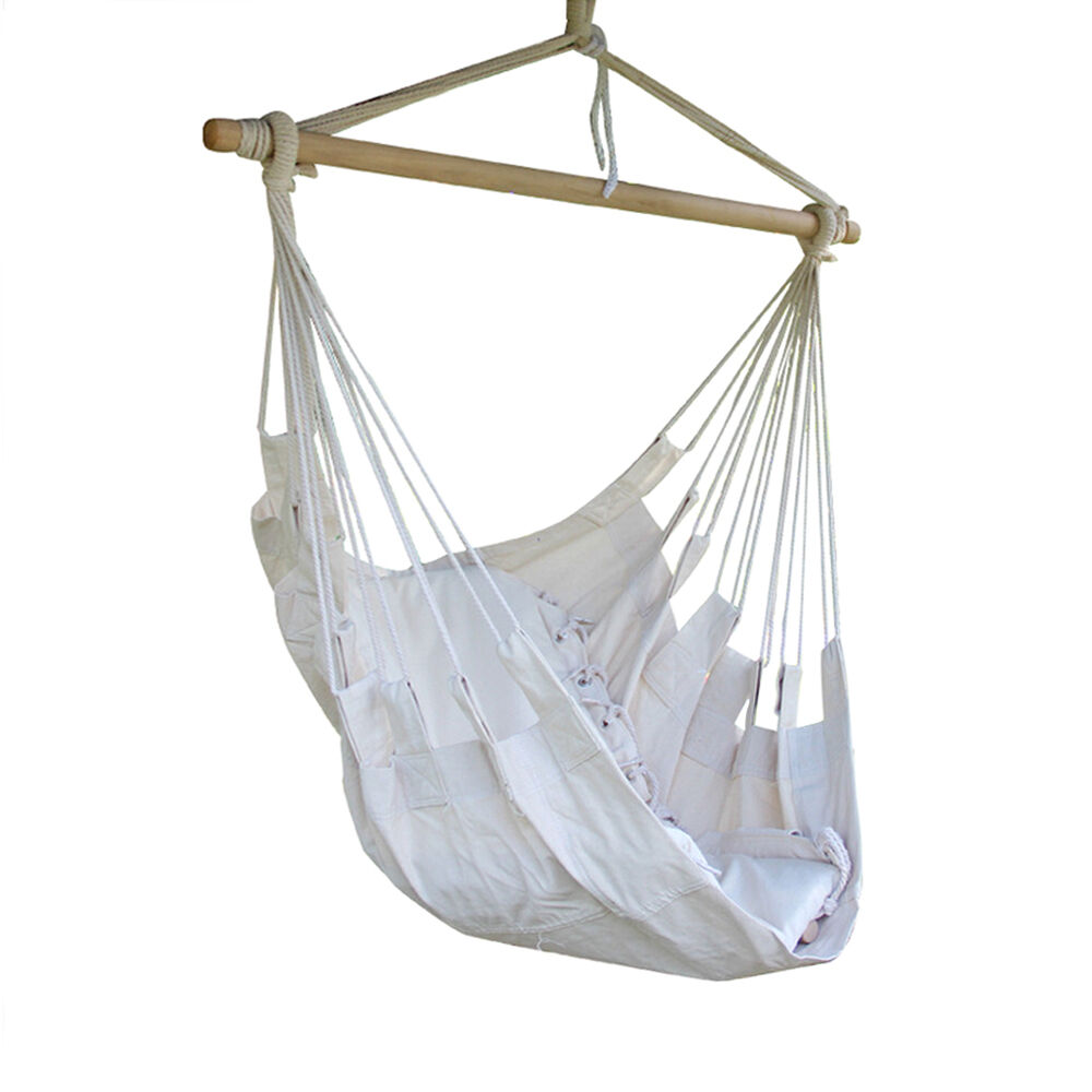 White Hammock Hanging Chair Canvas Swing Outdoor Air Yard