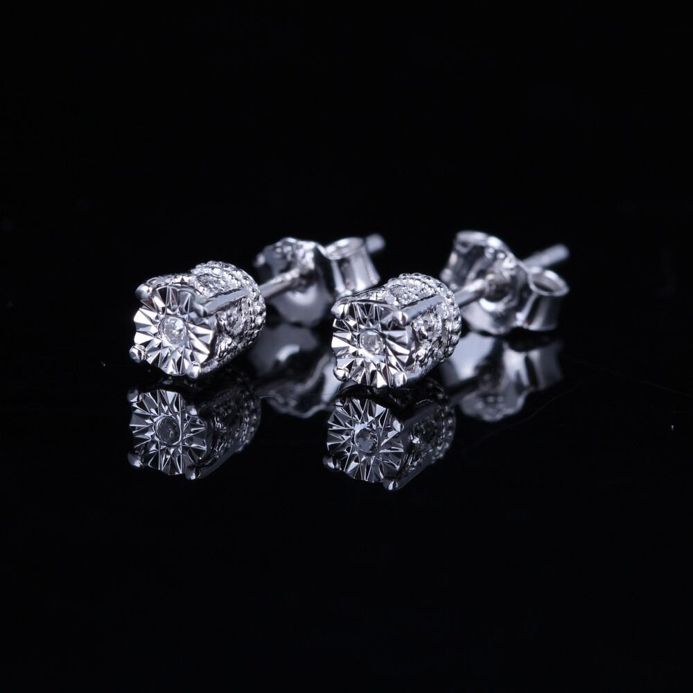 Sterling Silver Earrings Diamonds Filigree Charm Wedding ...