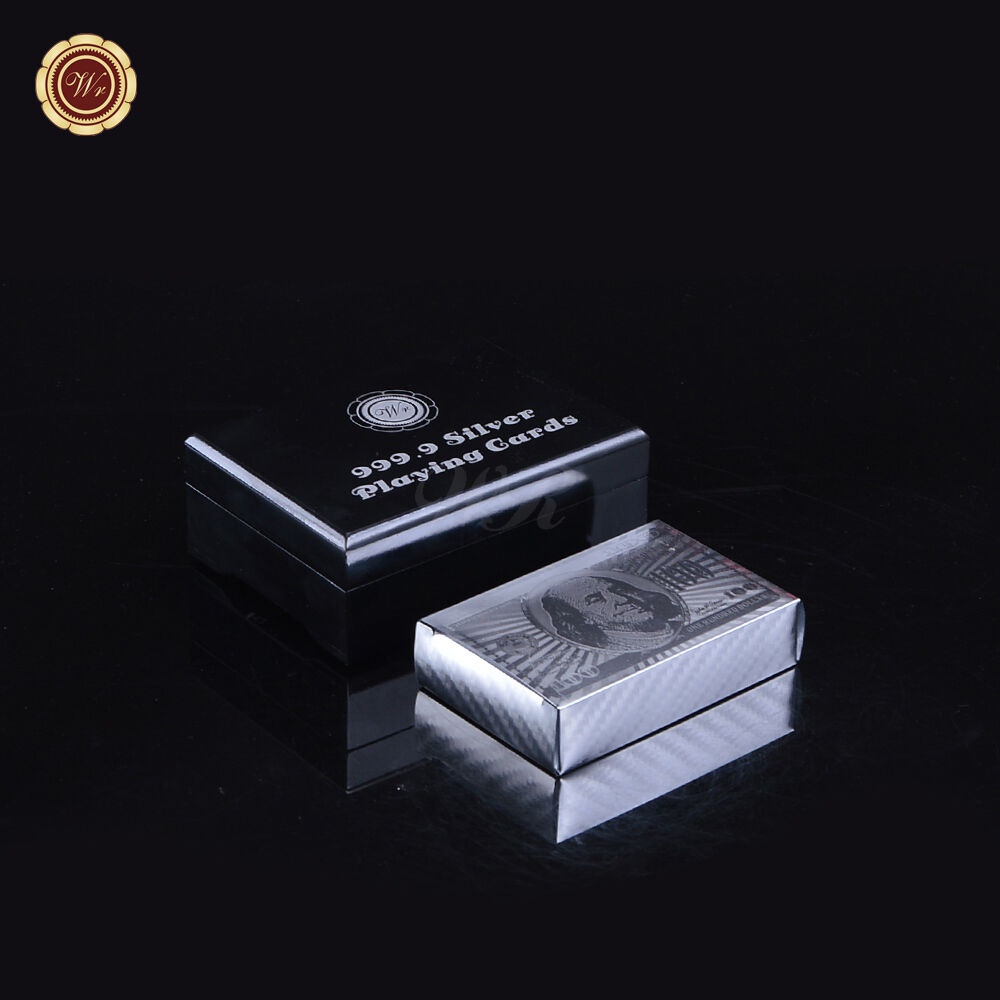 silver plated playing cards 100 dollar bill plastic poker. Black Bedroom Furniture Sets. Home Design Ideas