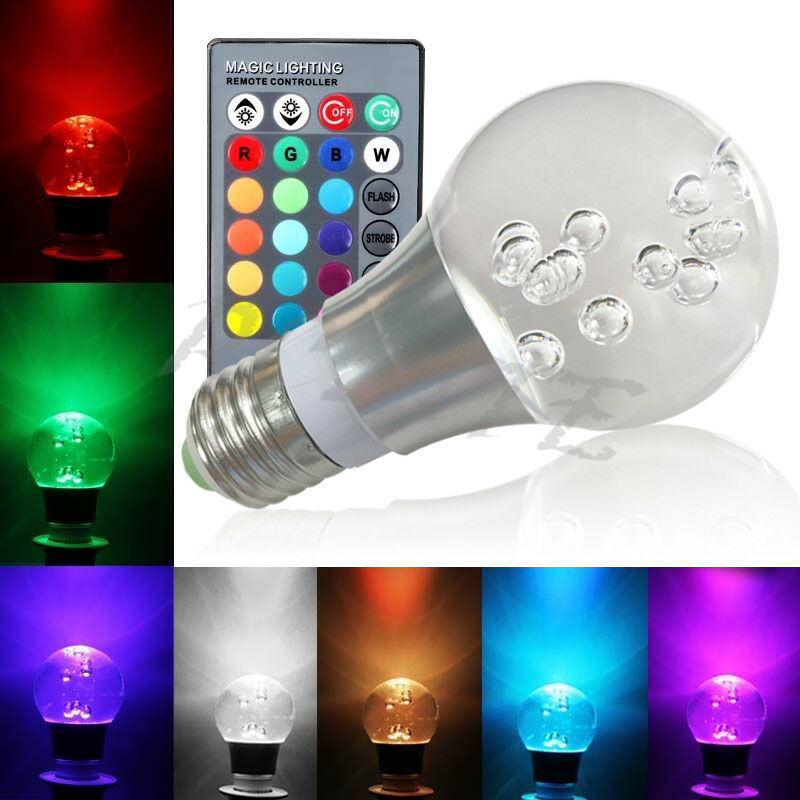 e27 rgb 16 color changing 3w led crystal bulb lamp light with ir remote control ebay. Black Bedroom Furniture Sets. Home Design Ideas