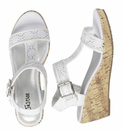 Justice Girls White Crochet Wedge Sandals Size 12 New In