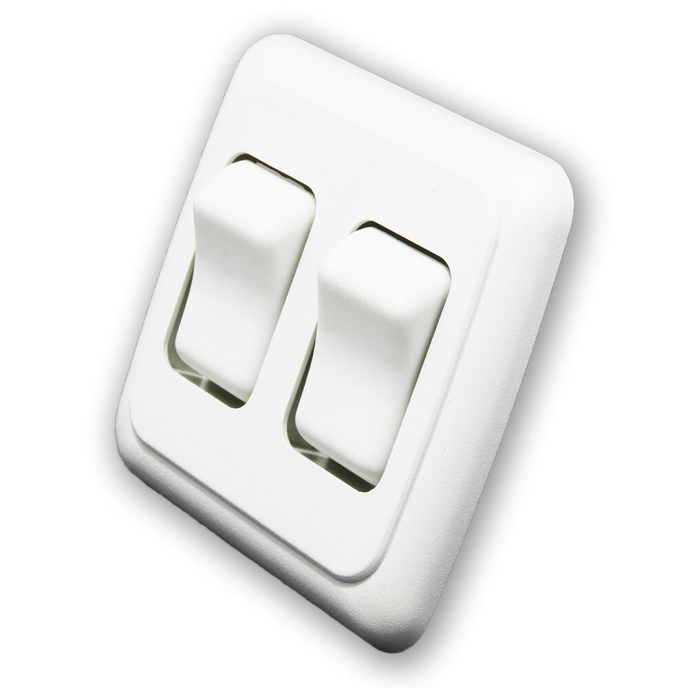 Double 2 Gang On-off 12 Volt White Light Switch