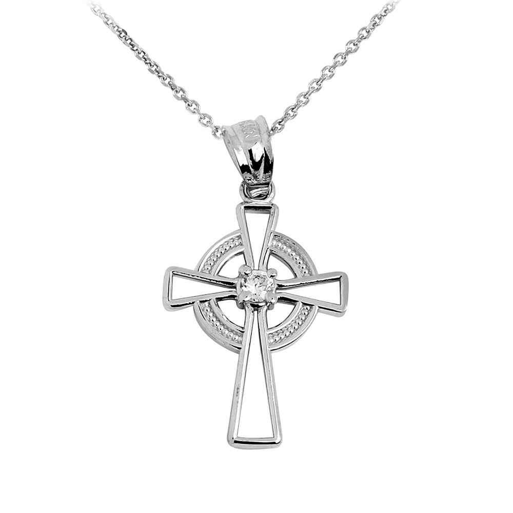 silver irish celtic cross pendant necklace ebay. Black Bedroom Furniture Sets. Home Design Ideas