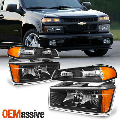 Fit 04-12 Colorado Canyon Black Headlights + Bumper Signal Lights Replacement