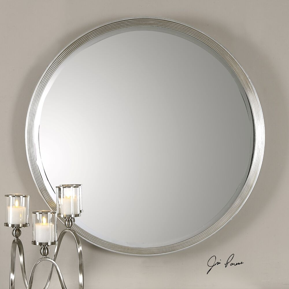 42 silver leaf round stepped profile beveled wall mirror for Round silver wall mirror
