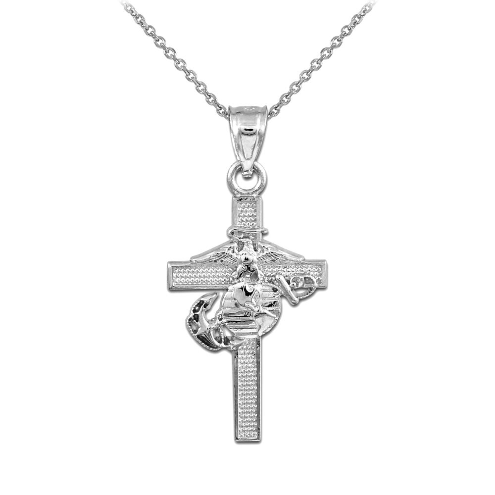 silver us marine cross pendant necklace large ebay. Black Bedroom Furniture Sets. Home Design Ideas
