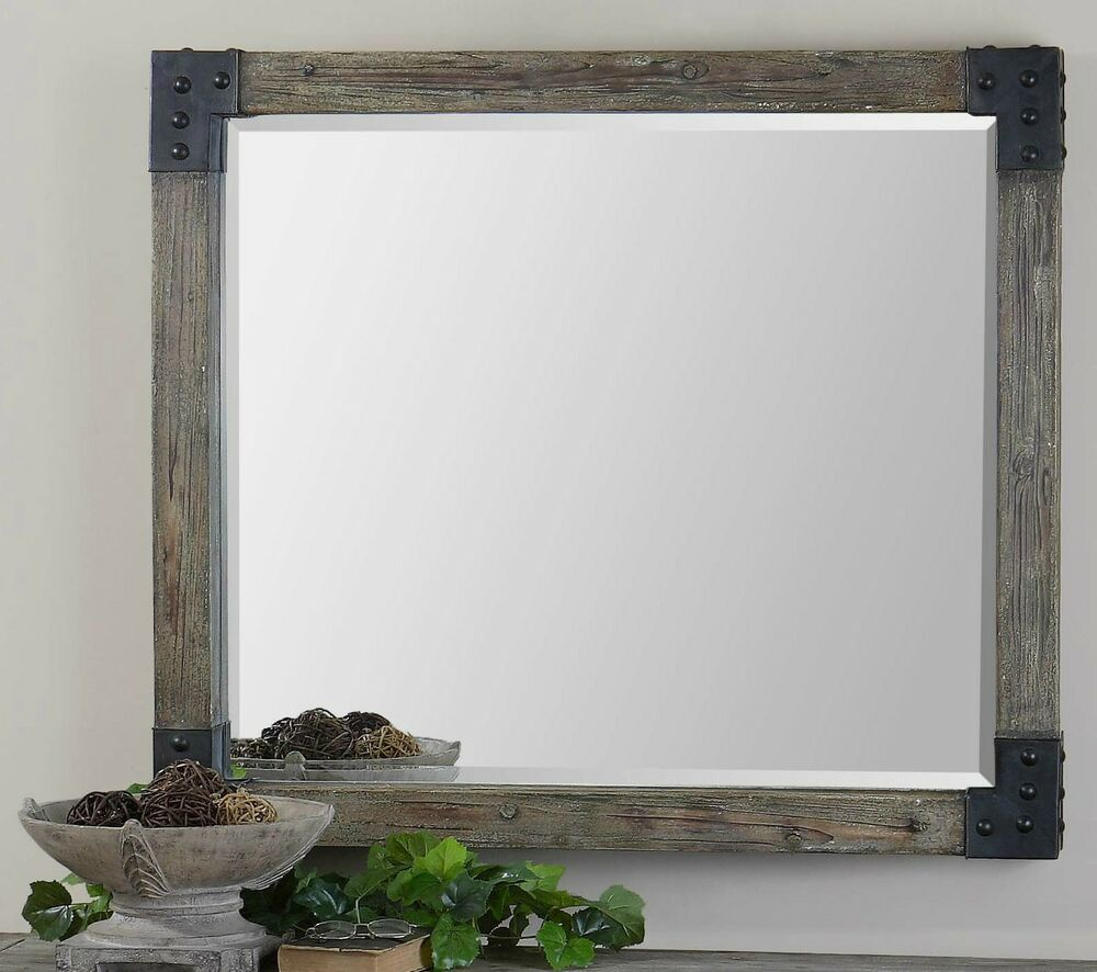 large 46 rustic gray wash wood rectangular beveled wall
