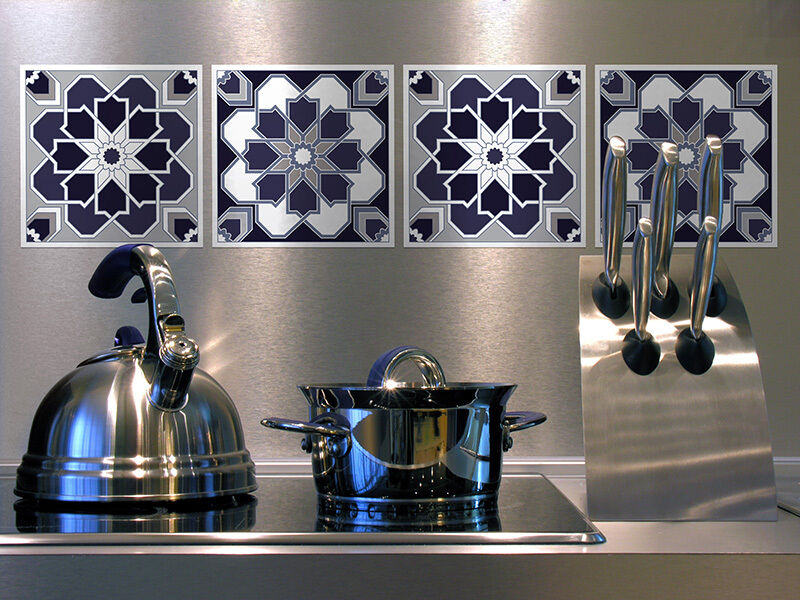 retro kitchen tile stickers set retro tile wall decals sticker diy removable 4821