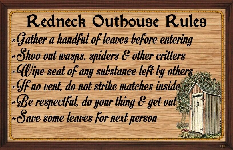 (Redneck Outhouse Rules) WALL DECOR, RUSTIC, PRIMITIVE