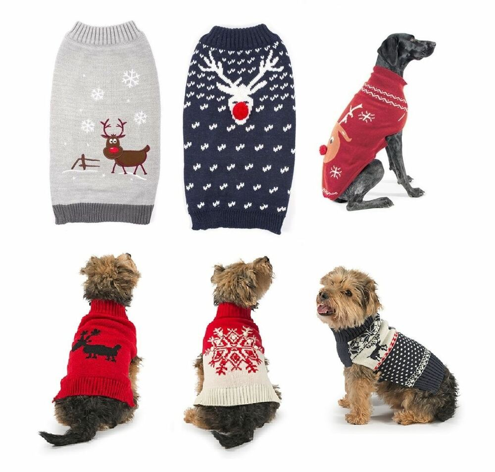 Knitting Patterns For Novelty Christmas Jumpers : Ancol Reindeer Knit Sweater Christmas Party Festive Novelty Warm Dog Jumper ...