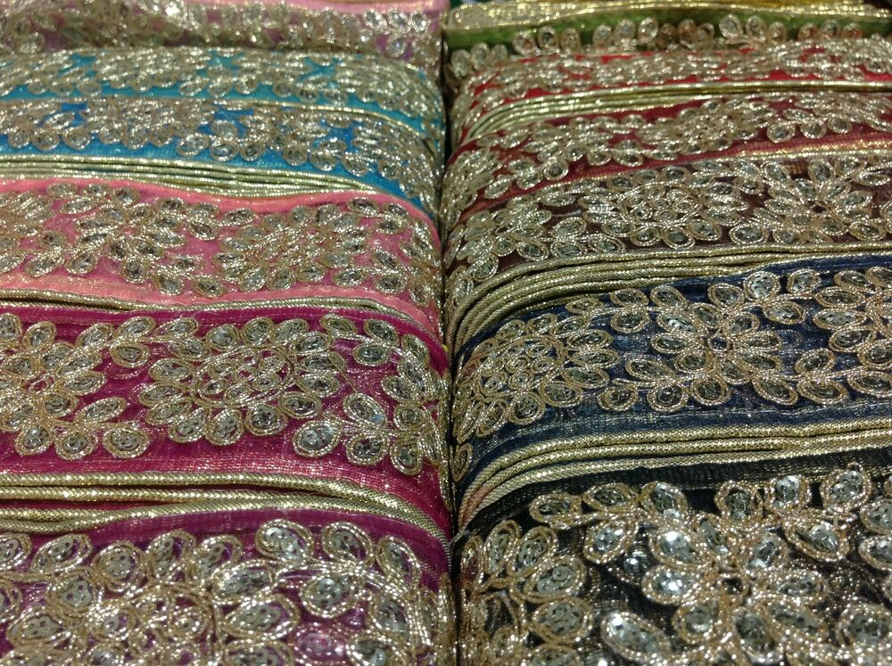 Fancy Gold Sequin Indian Lace Trim Ethnic Organza Ribbon