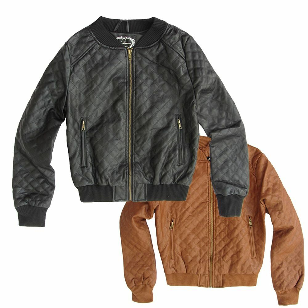 Women S Quilted Bomber Ribbed Faux Leather Jacket Black