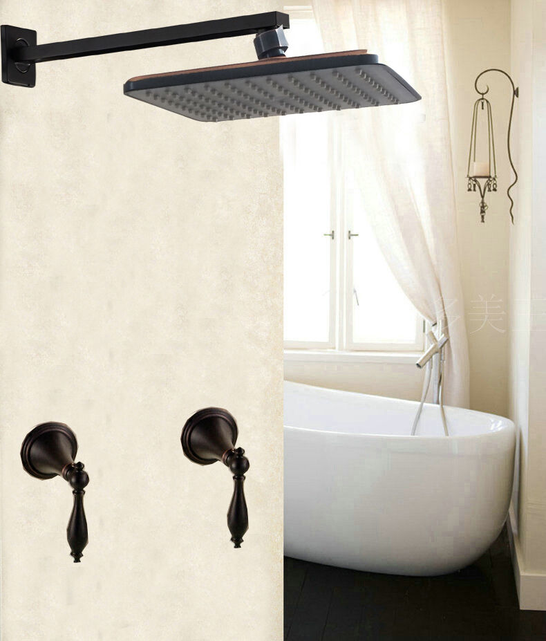 Oil Rubbed Bronze Rainfall Shower Faucet 8 ABS Top Head Dual Handles Mi