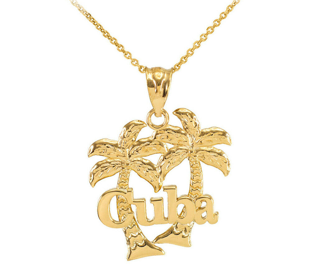 Cuba palm tree 10k gold pendant necklace ebay for 10k gold jewelry
