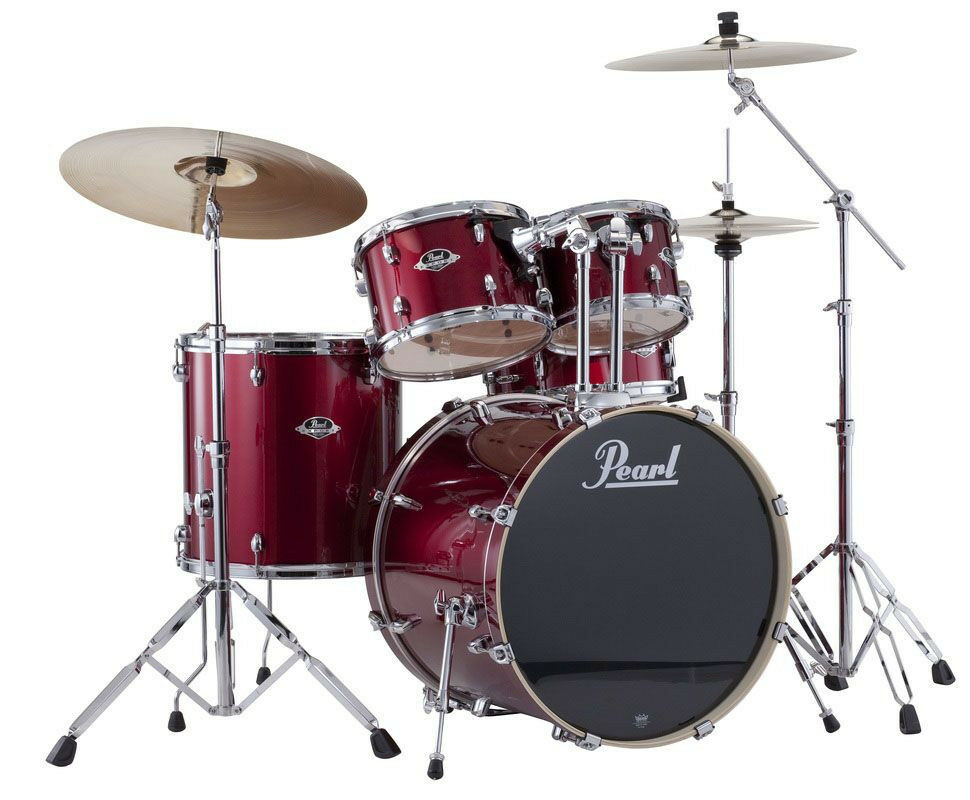 pearl export drum set 5 piece kit w hardware red wine finish exx705 c91 ebay. Black Bedroom Furniture Sets. Home Design Ideas