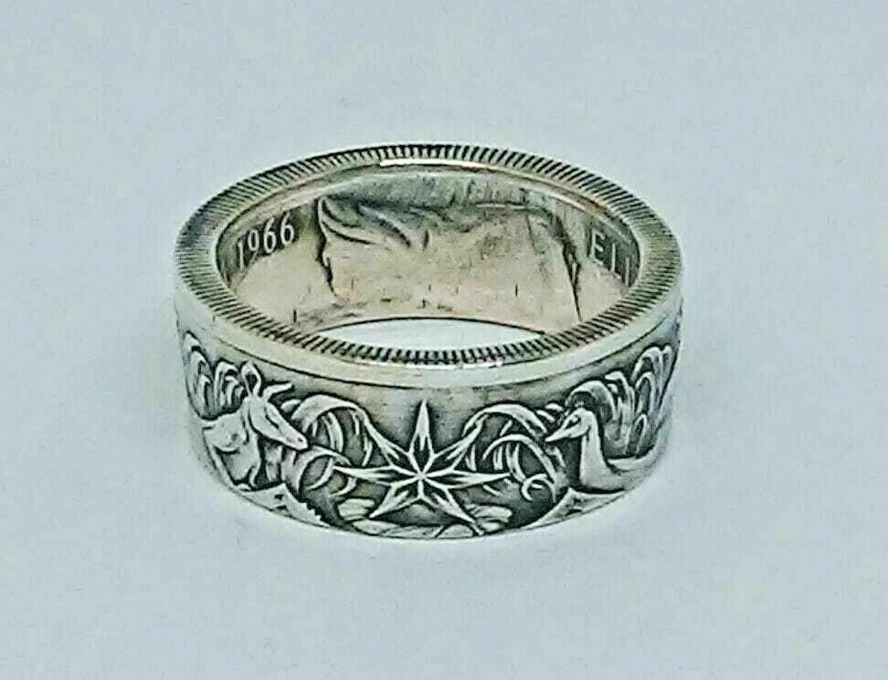 Coin Ring Quot Handmade Quot From Australia 50 Cent Silver Coin In Size 9 14 Ebay