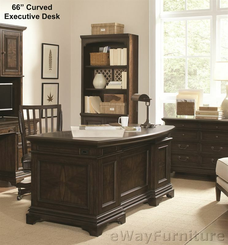 Andover Brown Collection Kitchen Cabinets Solid Wood Soft: Andover Stratford 66 Inch Curved Executive Desk Hardwood
