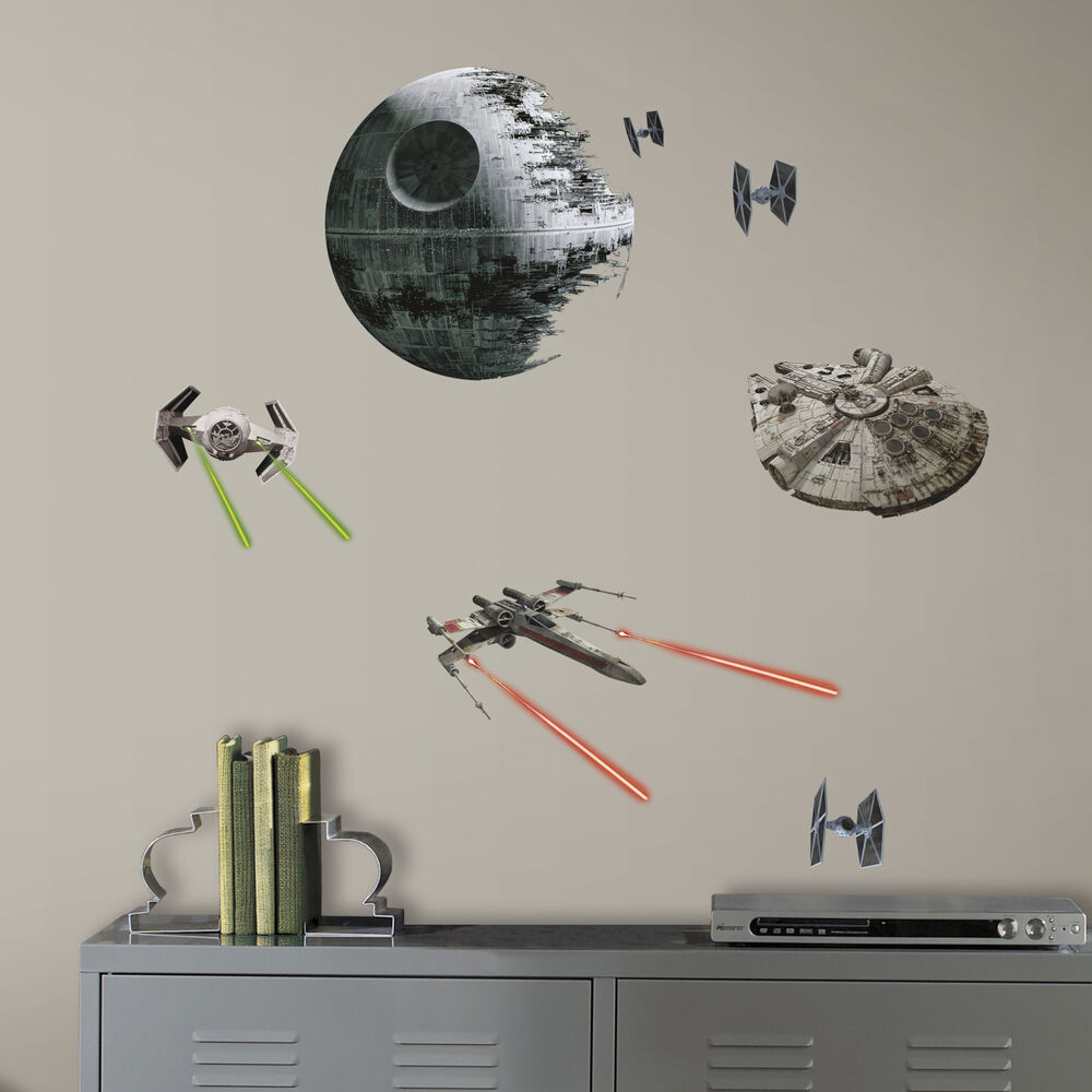 Star wars classic space ships death star wall decals for Death star wall mural