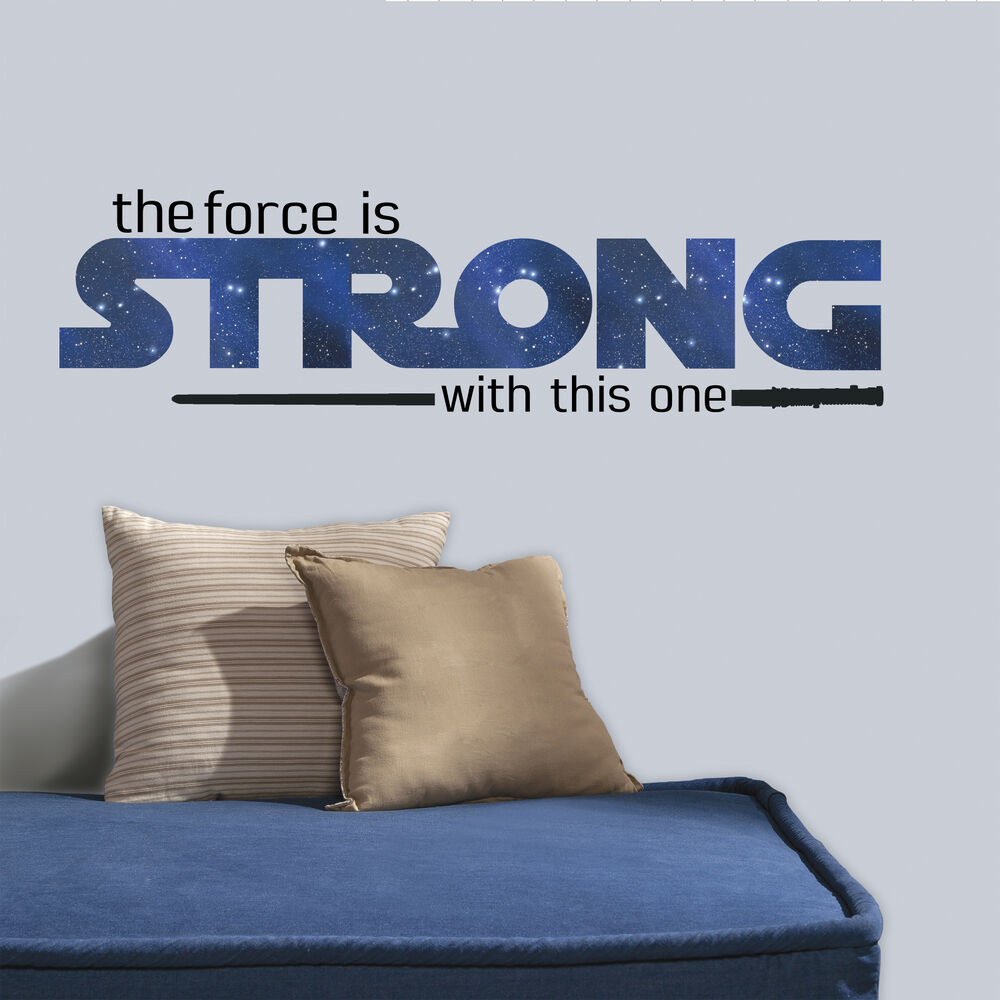 new star wars the force is strong with this one quote wall decals stickers decor ebay. Black Bedroom Furniture Sets. Home Design Ideas