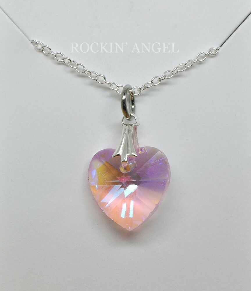 925 silver austrian crystal baby pink heart necklace