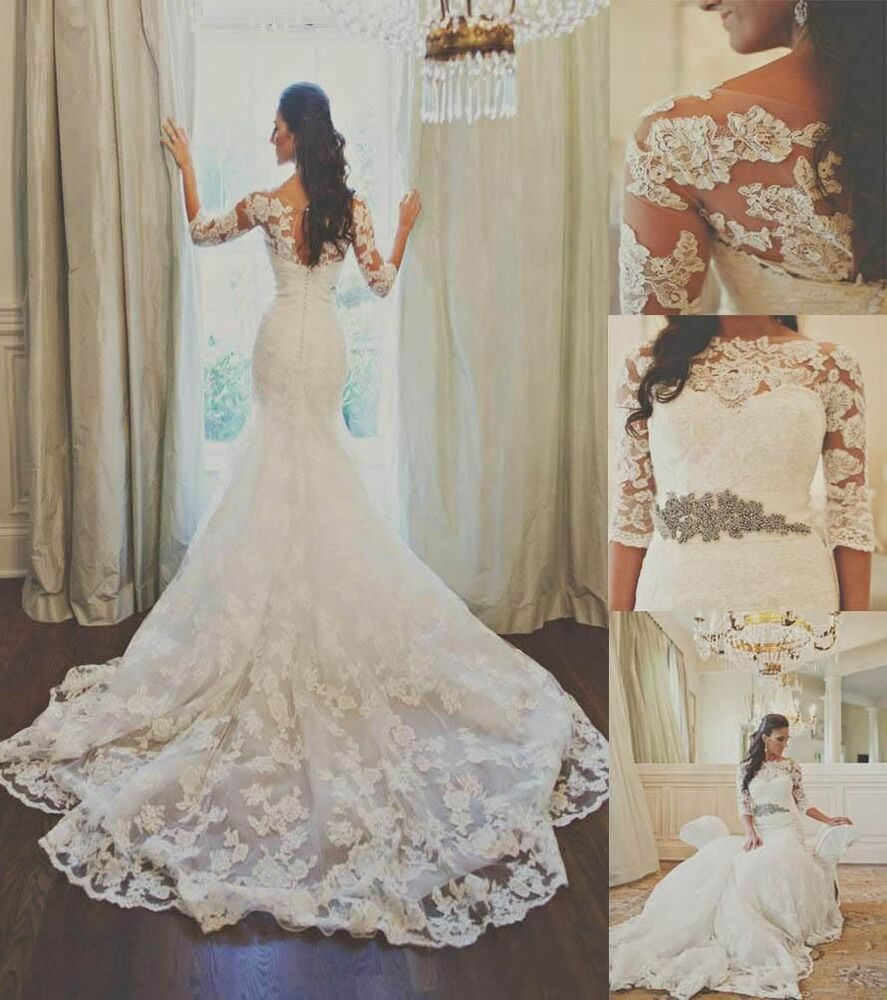 Mermaid Lace Wedding Gown: Lace Mermaid White/Ivory Wedding Dress Bridal Gown Custom