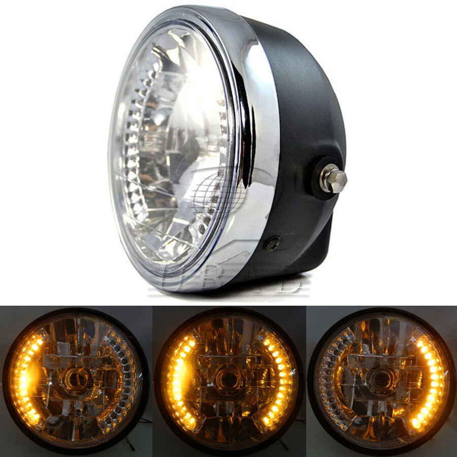 Motorcycle Headlight Assembly : Quot motorcycle headlight assembly amber led turn signal