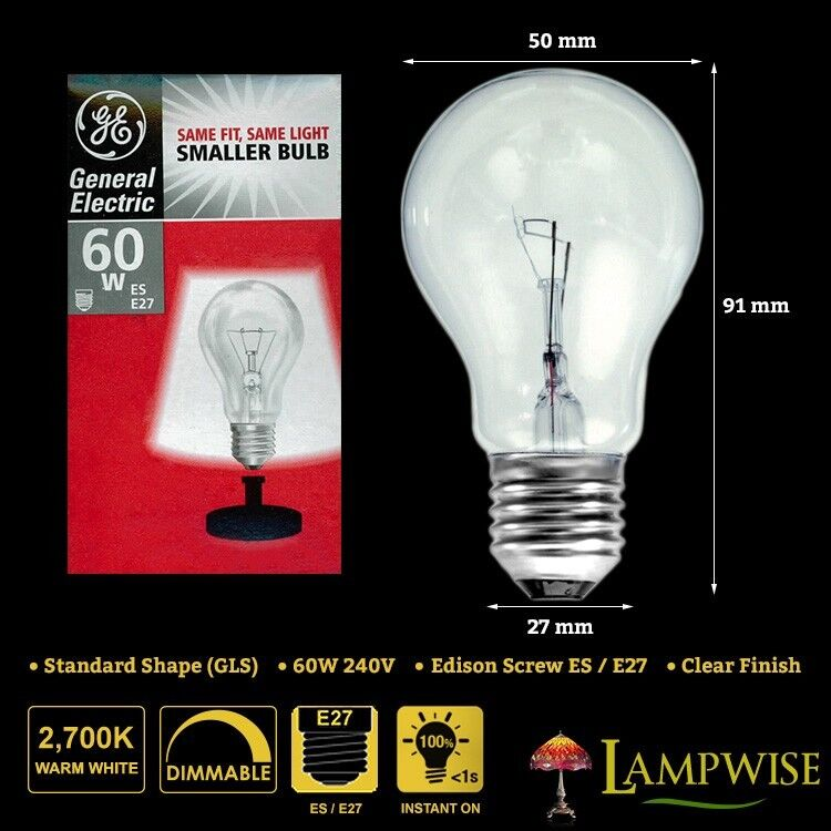 General Electric Led Bulbs: GENERAL ELECTRIC 60W 240V EDISON SCREW ES E27 MINI GLS