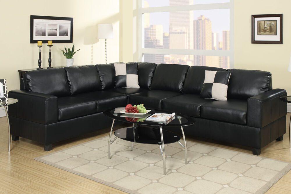 Sectional sofa 2 pcs set black faux leather living room furniture