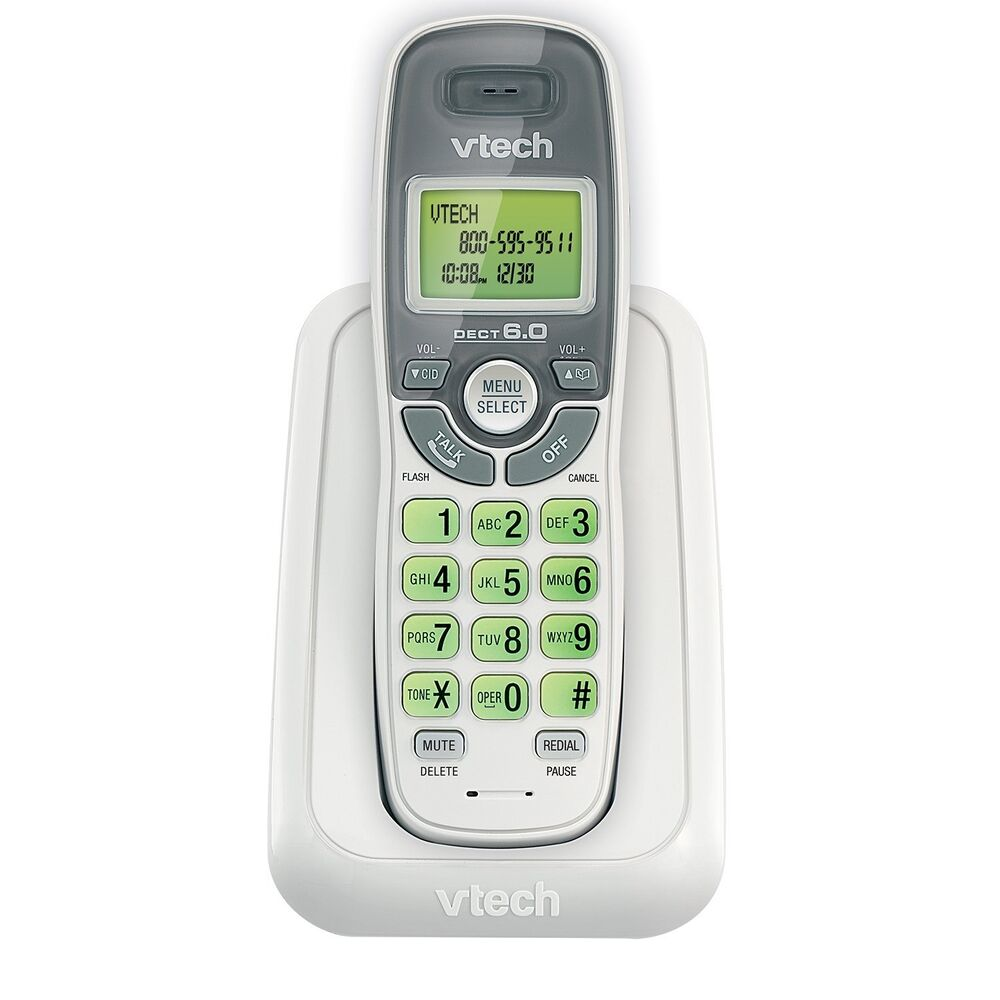 cordless vtech phone dect 6 0 caller id call waiting handset white wall mount ebay. Black Bedroom Furniture Sets. Home Design Ideas