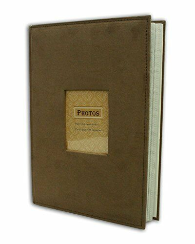 suede cover brown photo album holds 300 4 x6 pictures 3 per page ebay. Black Bedroom Furniture Sets. Home Design Ideas