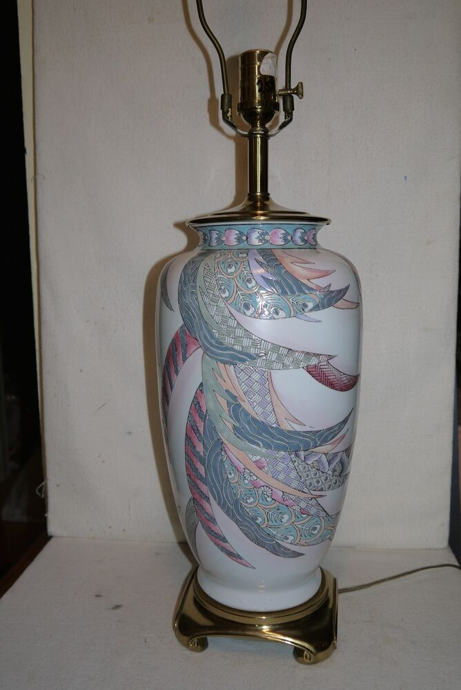 Ethan Allen Ceramic Table Lamp With Feather Design Ebay