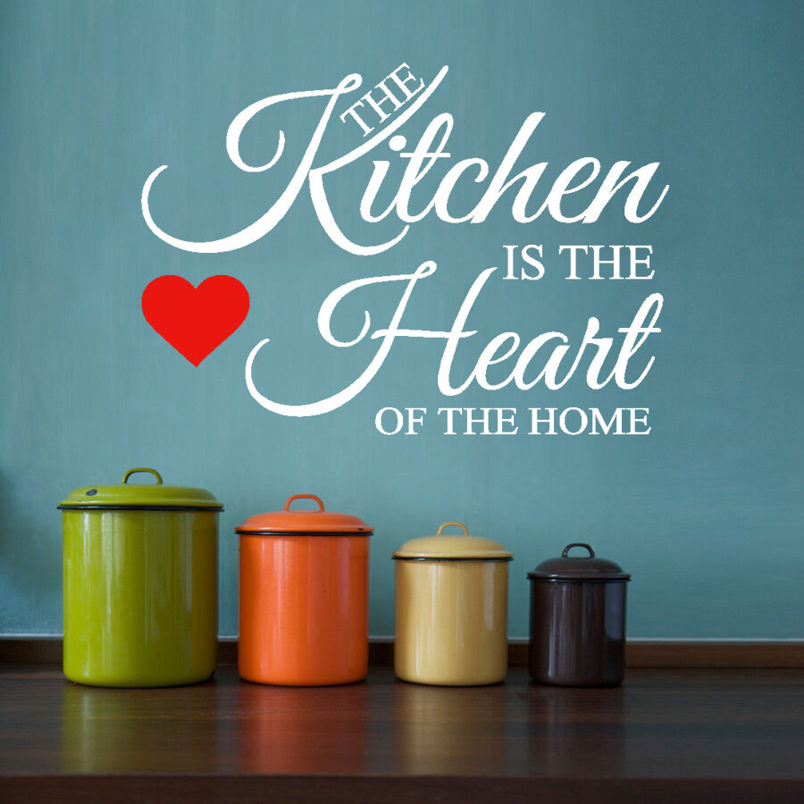 hh2 the kitchen is the heart of the home wall quote sticker art decor ebay. Black Bedroom Furniture Sets. Home Design Ideas