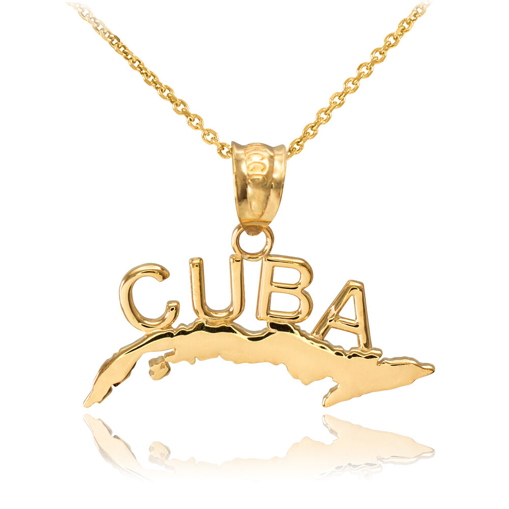 Yellow 14k Gold Cuba Pendant Necklace Ebay