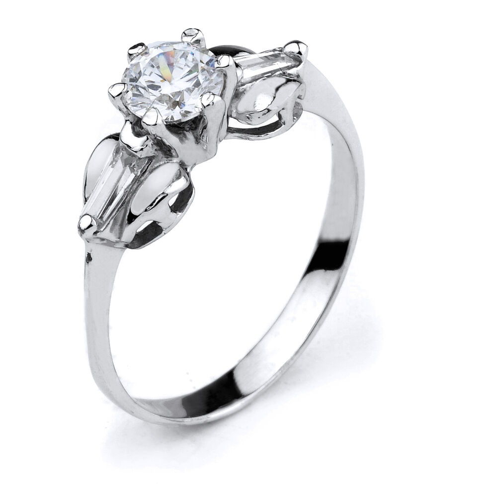 10k White Gold Engagement Wedding Ring With 3 Stone Of Cubic Zirconia EBay