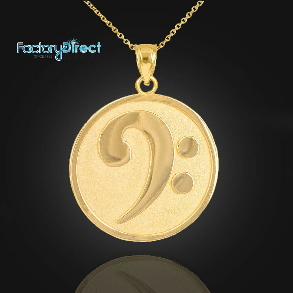 Solid Gold Textured Bass F Clef Charm Pendant Necklace Ebay